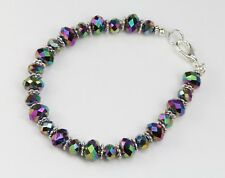 Pretty multi-coloured iridescent crystal bracelet, Tibetan silver spacers