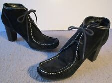 NINE WEST Shaded Black Suede Lace Up Hi Thick Heel Granny Boots 8M VGUC