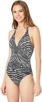 Kenneth Cole New York Women's 180610 V-Neck Halter One Piece Swimsuit Size M