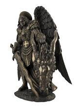 "Bronzed St Michael with Dragon Head Artistic Saint Statue Home Decor 11""H Gift"