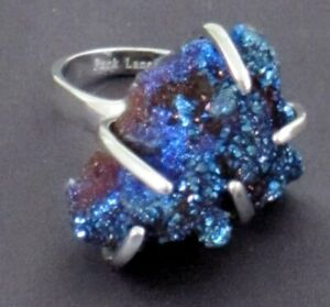 PARK LANE Galaxy Ring, Silver Metal with Blue Stone