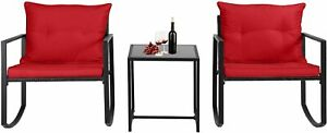 Outdoor Wicker Rocking Bistro Set Patio Rattan Furniture Sets with Coffee Table
