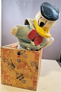 """Rare c1940 Spear Products DONALD DUCK """"QUACK IN THE BOX"""" TOY Jack-in-the-Box NR"""