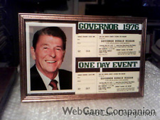 GOVERNOR RONALD REAGAN RARE 1 DAY EVENT DOUBLE TICKETS FRAMED DISPLAY - 1976