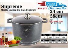 Non Stick Stockpot Marble Coated Saucepan Deep Casserole Pot Induction & Gas Hob