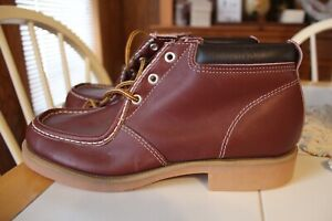 MENS 9.5 M VTG BROWN LEATHER MADE IN USA ANKLE BOOTS CREPE SOLES NEW OLD STOCK
