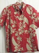 REYN SPOONER Mens Large Shirt Hawaii Floral Design Red Beige Multi Color