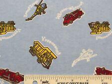 Fire Trucks Dump Trucks Helicopters Boys Light Blue Flannel Fabric  BTY  (G4)  #