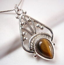 Tiger Eye Tribal Accents Style Necklace 925 Sterling Silver New