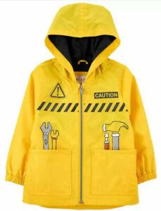 Carter's Boys Construction Worker Rain Slicker Jacket Size 2T 3T 4T 4 5/6 7