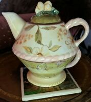 Tracy Porter Hand Painted Teapot and Tea cup Tea For One Victoria Pattern