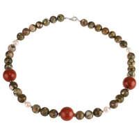 Kette Collier aus Ozean-Jaspis Rot-Jaspis Perlen, 925 Silber, grün braun, Damen