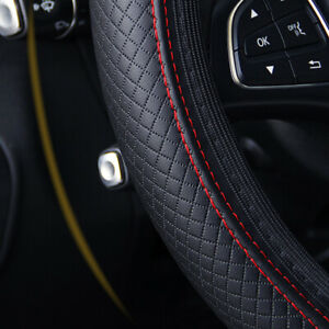 Black Leather Car Steering Wheel Cover PU Universal Fits 38cm / 15 inches