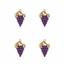 39514 Vintage Gold Alloy Purple Grapes Charms Crystal Pendant Findings 16pcs