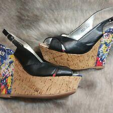 Bamboo Women's Size 10 Wedge Cork Pattern Sandals