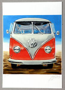 "Original Kunst Grafik ""VW BUS OLDIE Nr.1"" Grafik Grafica Gráfico,handsigniert"