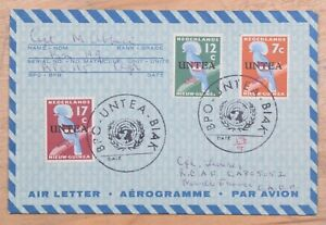 UN New Guinea Mixed Franking BPO UNTEA BIAK to Marfille France Air Letter