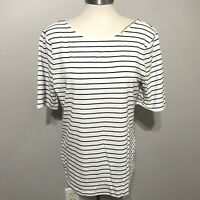 A New Day White L and black stripe blouse top women NWT short sleeve