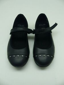 Clarks  Black leather girls school shoes size 10//28-12.5//31 G Wider fit RRP £38