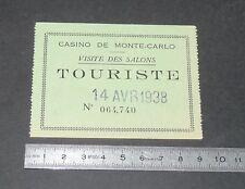 TICKET ENTREE 1938 CASINO MONTE-CARLO VISITE DES SALONS TOURISTE