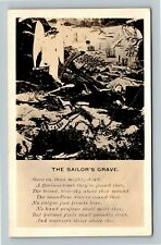RPPC The Sailor's Grave, Poem, Real Photo Postcard