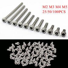 25/50/100PCS M2 M3 M4 M5 Stainless Steel Hex Bolt Socket Cap Screws Head DIN912