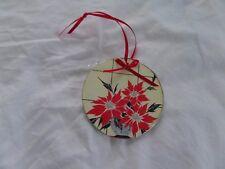 Vtg Christmas Card Art Deco Ornament Handmade Glitter wood back Poinsettias