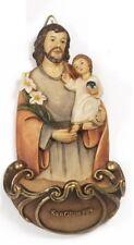 Acquasantiera San Giuseppe in resina h 13,5 cm d'appendere.