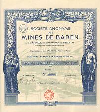 SA des Mines de Baren, accion, Paris, 1928