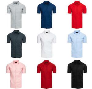 DSTREET Hemd Freizeithemd Kurzarmhemd Unifarben Classic Herren m l xl 2xl