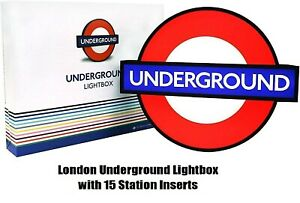 London Underground Lightbox with 15 Station Inserts New Edition