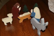 Vintage Christmas Nativity Set 7 Piece All Wood Handmade
