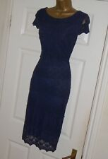 Phase Eight Navy lace stretch pencil wiggle cocktail evening party dress size 14