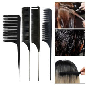 4 Pack Weaving Highlighting Foiling Hair Comb Rat Tail Comb, Weaving Sectioning