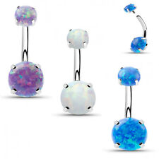 14G STEEL INTERNALLY THREADED DOUBLE OPAL 4 PRONG SET BELLY BUTTON NAVEL RING