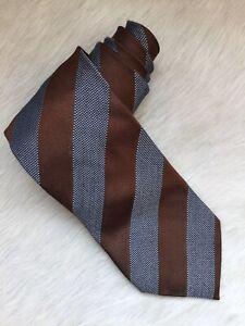 Ermenegildo Zegna Classic Brown Diagonal Stripe Silk-Wool Blend Tie ITALY EUC