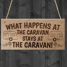 New What Happens At The Caravan Stays At The Caravan Funny Plaque Wooden Gift