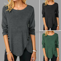 UK Womens Plus Size T Shirt Blouse Pullover Ladies Casual Tee Jumper Button Tops