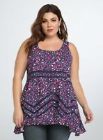 Torrid Womens Size 0 Navy Pink Floral Hi Lo Ruffle Tank Top Lace Sleeveless