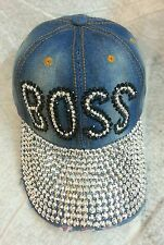 Boss Bling Rhinestone Baseball Cap Ball Hat Studs Sparkle Jewel Adjustable Denim