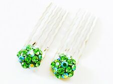 USA Hair Small using Swarovski Crystal Mini Bridal Hair Comb GREEN