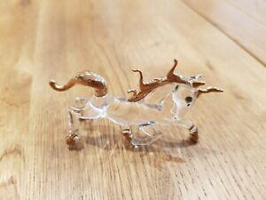 Miniature Glass & Gold Unicorn Figurine New