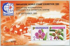 Singapore 1995 Souvenir Sheet Orchids Flowers Blossoms Stamp Show Sc #717c MNH
