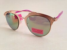 Betsey Johnson Round Sunglasses New Rose Gold Pink Light Green Flash Lens Retro