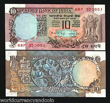 INDIA 10 RUPEES P81 F 1975 DEER PEACOCK HORSE UNC PRIME MINISTER MMS SIGN NOTE