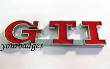 Metal Cromado Rojo GTI Placa De Coche Placa VW Golf Peugeot 206 207