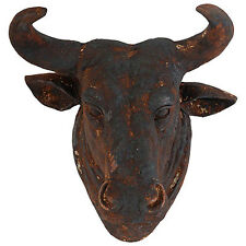 "Bull Head Wall Plaque Sculpture Rusty 15x14x11"" - 74717RUST"