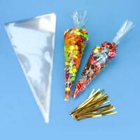 100* Large Clear Cellophane Cone Bags Twist Ties Party Candy Sweet Cello CNX