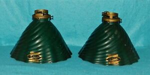 Vintage Antique  Green X Ray Mercury Glass Lampshade Pair