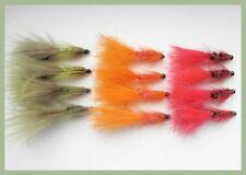 Tungsteno cordone Tadpole mosche, confezione da 12, Arancione Oliva & Rosso, taglia 10, pesca con la mosca